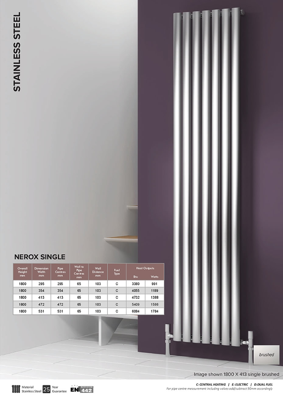 reina nerox single brushed vertical